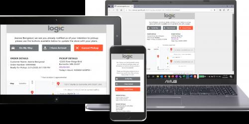 Curbside Pickup application displayed on tablet, mobile and desktop